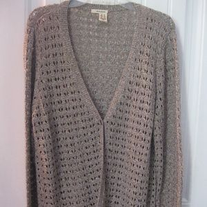 DKNY Jeans Woman's Open Knit Button Front Cardigan